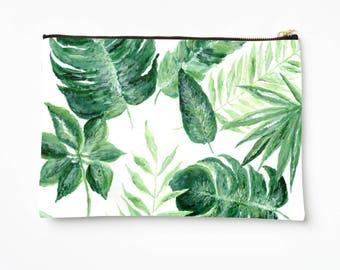 Palm Leaf Makeup Bag, palm leaf pouch, bridesmaid pouch, leaf makeup bag, tropical leaf pouch, leaf pencil pouch, green makeup bag