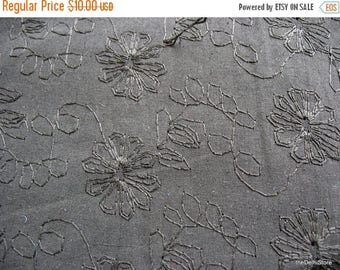 Flat 40% Off Black Machine Embroidered Pure Cotton  Fabric by Yard