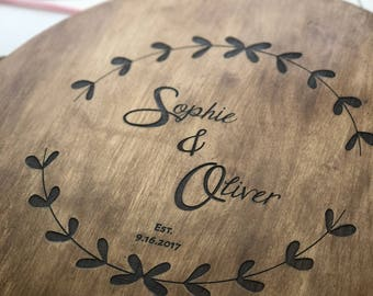 Personalized Lazy Susan, Custom Engraved Turn Table, Solid Birch Lazy Susan, Personalized Wedding Gift