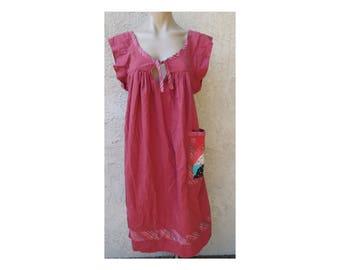Vintage 1970's orange cotton patchwork applique sleeveless A line dress sz S mumu caftan boho hippie Coachella