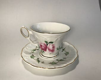 Crown Dorset Teacup and Saucer Staffordshire Fine Ceramics England Hand Painted Gold Trim Transfer Ware Pink Roses