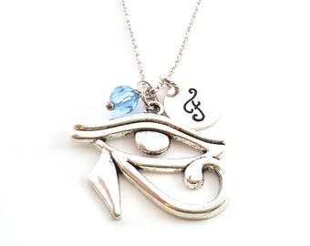 Eye of Horus Necklace - Birthstone Necklace - Personalized Necklace - Initial Necklace - Sterling Silver Necklace - Gift For Her