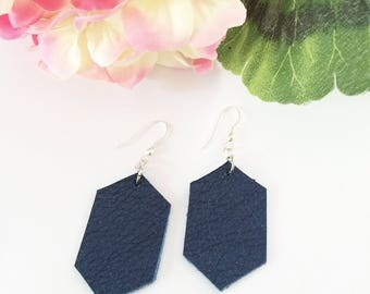 Leather earrings, hexagon earrings, navy blue leather, geometric earrings, shiny metallic leather, summer accessory, shimmer,sterling silver