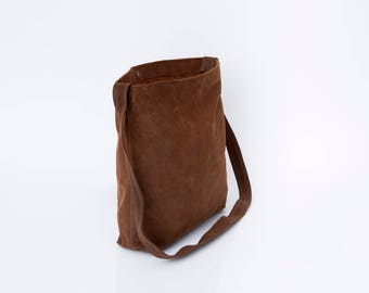 Distressed Leather Bag, Brown Suede Leather Tote, Leather Crossbody Bag, Soft Leather, Lightweight Bag, Leather Tote, Women Tote Bag,