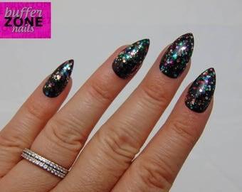 Hand Painted Press On False Nails, Black With Rainbow Glitter, Stiletto Long Length