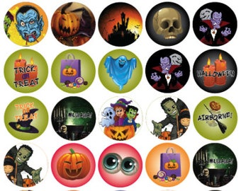 "12–30 Round 2"" or 1.5"" HALLOWEEN stickers labels Vampire Skull Monster Bat Cat Vintage"