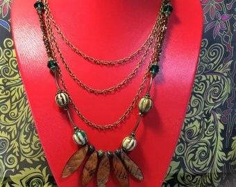 Antique Bronze Multi Tiered Necklace.