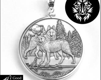 Alpha Wolves Coin Medallion in Sterling Silver Bezel with Vigilant Wolf Symbol Reverse