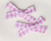 Purple Gingham Valentine's Day Bows, Alligator Teeth Clips, Bow Set, Big Girl Bows, Bow Clips Set, Piggy Clips, Valentine's Day