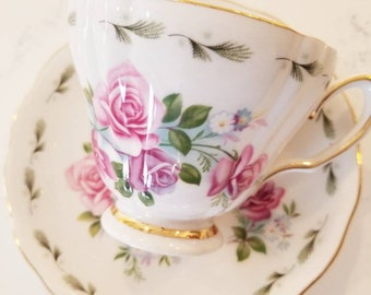 ROYAL VALE Pink Roses  Bone China Tea Cup and Saucer,  vintage pink and white teacup/  Customizable Teacup