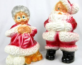 Vintage Santa and Mrs Santa Clause Chalkware / Chalk Ware Statues / Oversized, XL / Christmas Kitch Accents Home Decor