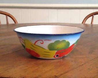 "Antique 6.5"" bowl graniteware enamelware colorful vegetable enameled metal farmhouse country kitchen rustic primitive home decor"