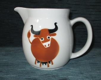 "5.5"" Arabia of Finland 32-oz Pitcher, Brown BULL (COW), 1970 Wartsila Mark"