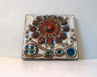SOHOLM Wall Plate Noomi Backhausen Ceramic - Vintage Danish Wall Relief tile -  Scandinavian Wall Hanging