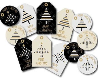 labels digital merry christmas gold Christmas tree