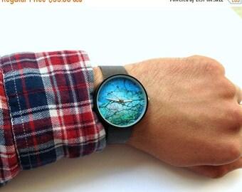 ON SALE Womens watch, Marble Watch, Mens watch ,Gemstone Print watch ,Designer watches, blue watch, Teal watch