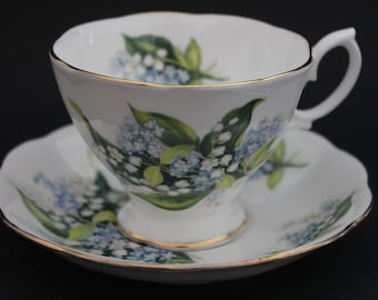 "ROYAL ALBERT Bone China Teacup and Saucer Set. ""Lily of the Valley""."