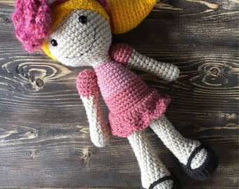 Crochet doll softie, doll plush, amigurumi, rag doll, baby girl shower gift, baby toy, custom doll, baby room decoration