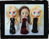 DOLL CLOTHES Lot of 3 Goth Gowns handmade for Littlest Pet Shop BLYTHE Petite Lot #13