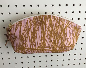 Large Pink Bamboo Zipper Pouch