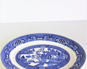Vintage Blue Willow Serving Dish