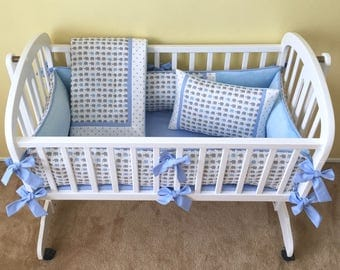 Gray and Blue Elephants Baby CRADLE BEDDING Set -- Includes Cradle Bumper, Baby Blanket, Fitted Sheet, & Accent Pillow - Made-To-Order