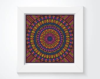 Mandala Cross Stitch Pattern PDF, Time Cross Stitch Chart, Art Cross Stitch, Embroidery Chart (ART036)