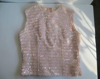 Mid Century 1960s Stephen O'Grady Pink Sequined Sleeveless Top Evening Wear