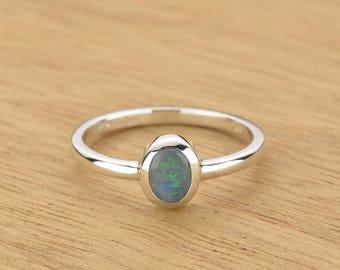 0.072ct Semi-Black Opal Ring in 925 Sterling Silver Size 7 SKU: 1979S016