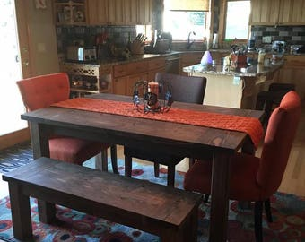 Rustic Farmhouse Table Full Set With Espresso Stain (2 Benches)