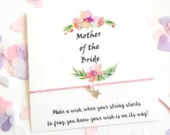 Wish String Bracelet Mother of the Bride, Groom Bracelet Wedding Wreath Favour Card Hen Party Vintage