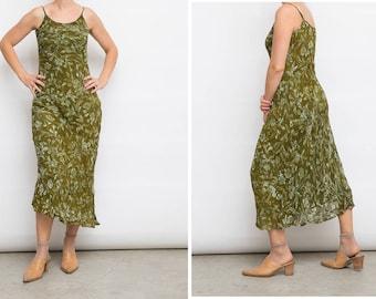 Vintage Green Dress, Shivam Interstyle Dress, Medium Dress, Sleeveless Dress, Green Floral Dress, 80s Strap Dress, Spaghetti Strap Dress