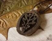 Oak leaf wood pendant