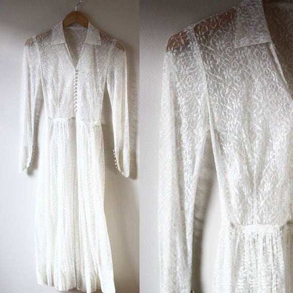 1940s sheer lace dress // 1940s white lace dress // vintage dress