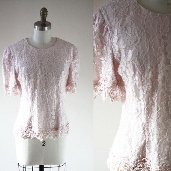 1980s pink lace top // 1980s lace shirt // vintage blouse