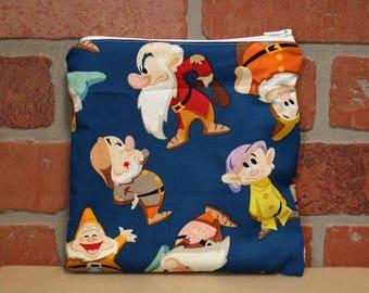 One Sandwich Bag, Reusable Lunch Bags, Waste-Free Lunch, Machine Washable, Seven Dwarfs, Sandwich Sacks, item #SS76