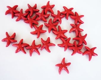 10 Red 14mm Howlite sea star