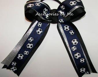 Blue Soccer Bow, Soccer Balls Hair Clip, Soccer Blue Silver Black Bow, Buy Bulk Cheap Soccer Ribbons Hair Bows, Soccer Ponytail Holder Bows