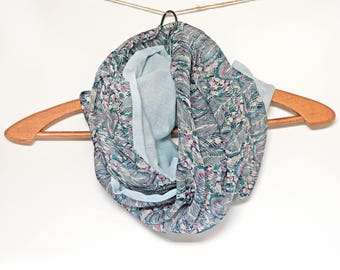 Woman Snood mothers - chiffon and cotton blue sky