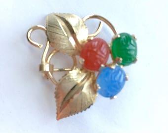 Vintage Beetle Brooch Colored Beetles Gold Leaves Green Blue Red Beetles on Leaves Gold Tone Vintage Brooch 1950s 1960s Synthetic Stones