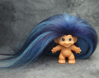 1960's Scandia Troll Doll with Original Blue Spiral Eyes and New XL Multi Blue Mohair