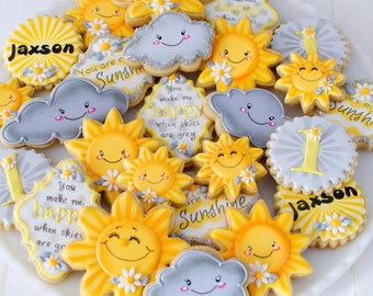 "12 ""You Are My Sunshine"" Themed Sugar Cookies"