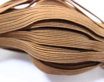 elastic Ribbon 5 meters flat light brown color