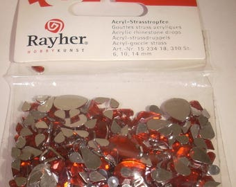 Pouch drops rayher beads 6/10 / 14mm acrylic rhinestones