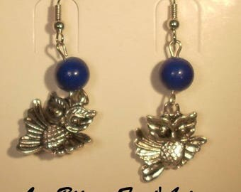 Navy blue glass beads and OWL charm hook earrings
