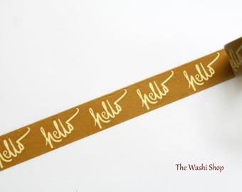 "Gold ""Hello"" Washi Tape"