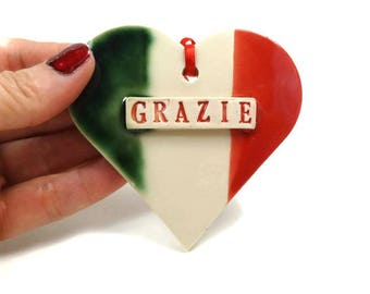 Grazie Ornament, Italian Thank You, Italian Flag Ornament, Italian Teacher Gift, Italian Decor, Grazie Sign, Italian Gift, Thank You Gift