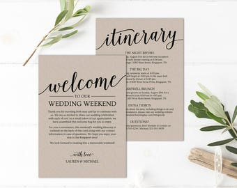 Wedding Itinerary Template, Wedding Welcome Note // Printable Wedding Itinerary // Welcome Letter Wedding // Wedding Bag Itinerary