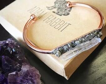 Rose Gold Pyrite and Quartz Bracelet