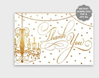 DIY Gold Thank You Card Printable, Gold Chandelier Thank You Card, Gold Confetti Thank You, Elegant Thank You Card 4x6 Instant Download PP8